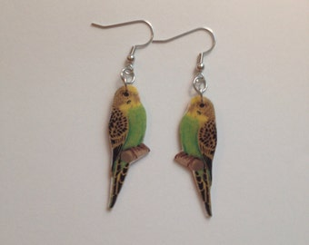 Handcrafted Plastic Yellow Green Parakeet Budgerigar Earrings Gifts for Her para18c