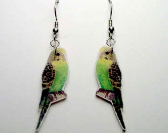 Handcrafted Plastic Green Yellow Parakeet Budgerigar Budgie Bird Earrings Bird, Gifts for Her, Jewelry, Accessories