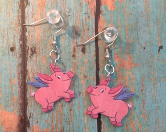 Handcrafted Plastic Flying Pig Earrings Bacon Fest Gifts for Her pig18a