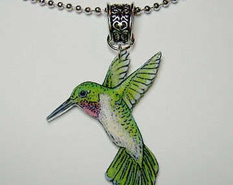 Handcrafted Plastic Hummingbird Necklace Pendant Gifts for Her hum18a