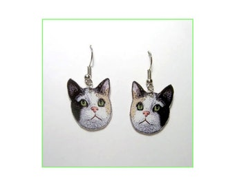 Handcrafted Plastic Calico Cat Head Earrings Gifts for her calcat18b