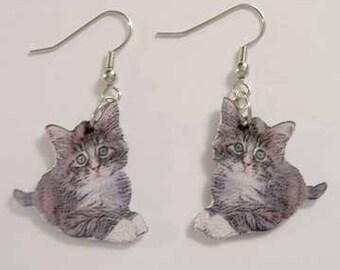 Handcrafted Plastic Gray Tabby Cat Kitten Earrings Gifts for Her