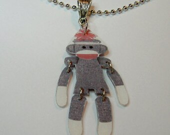 Handcrafted Plastic Jointed Sock Monkey Necklace Pendant Gifts for Her mon18a