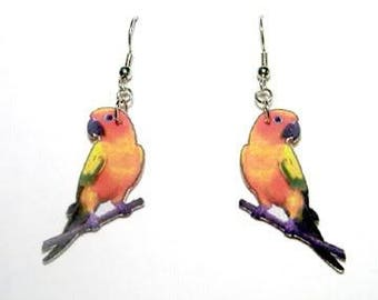 Handcrafted Plastic Sun Conure Earrings or Lapel Pin