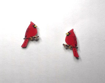 Red Cardinal Bird Stud Post Tiny Earrings Handcrafted Plastic Earrings Jewelry Accessories Fashion Novelty Unique Gift