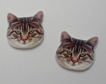 Handcrafted Plastic Striped Tabby Cat Kitten Head Stud Post  Earrings Gifts for Her