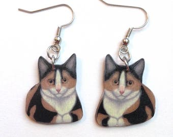 Handcrafted Plastic Calico Cat Earrings Gifts for Her calcat18a