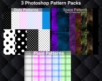 3 Photoshop Pattern Packs - 3 .pat downloads in 1 .zip file, seamless tiling graphics images, polka dots, space, stars, nebula, plaid