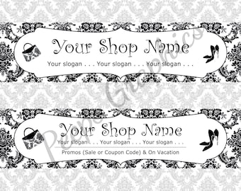 3 Fashion Damask Banners Set - Purse Banners, Shoes Banners, Accessories Banners, Etsy Banners, Shop Banners, Graphics,