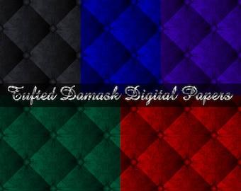 5 Tufted Damask Digital Papers for Digital Scrapbooking - digital scrapbook, digital scrapbook paper, digital paper, digital scrapbooking,