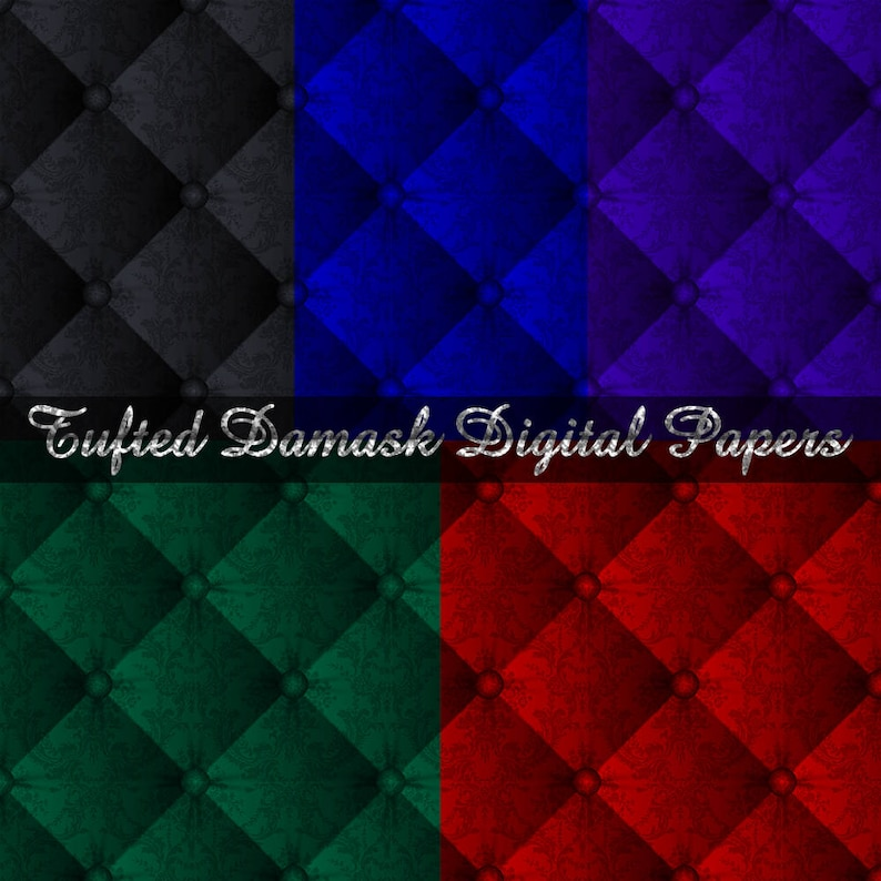 5 Tufted Damask Digital Papers for Digital Scrapbooking  image 0