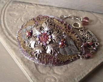 Leather Cuff Bracelet, Flower Medallion Cuff, Bohemian Floral Bracelet, Romantic Leather Filigree Bracelet in Merlot and Silver