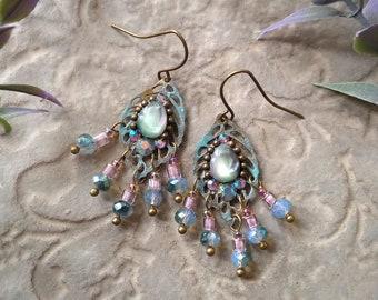 Dangle Leaf Earrings, Bohemian Filigree Earrings, Fantasy Fairy, Boho Drop Earrings - Faerie Dewdrops in Patina Mint and Lilac
