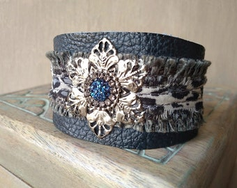 Boho Leather Flower Cuff, Rustic Leather Bracelet, Bohemian Flower Wrist Cuff ~ Moroccan Moon in Navy and Gray