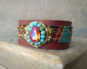 Leather Cuff Bracelet, Crystal Bracelet, Velvet and Leather Wrist Cuff, Rustic Bohemian Accessory in Orange, Turquoise and Gold