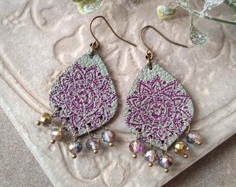 Leather Mandala Earrings, Flower Earrings, Beaded Leather Chandelier Earrings ~ Rustic Fleur in Sage Green and Plum