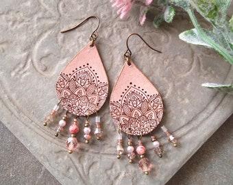 Pink Leather Earrings, Mandala Flower Earrings, Teardrop Earrings, Beaded Leather Chandelier Earrings ~ Blush Pink and Chocolate Brown