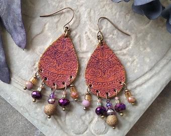 Leather Mandala Earrings, Flower Earrings, Beaded Leather Chandelier Earrings ~ Rust Brown, Purple and Bronze