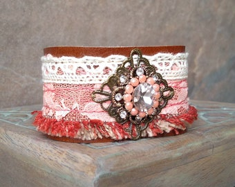 Boho Leather Bracelet, Romantic Layered Cuff, Rustic Leather Cuff Bracelet, Shabby Lace Wrist Cuff in Peaches and Cream