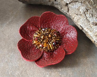 Red Leather Flower Pin, Beaded Floral Brooch, Boho Floral Pin, Rustic Flower Accessory ~ Regency in Ruby Red and Deep Gold