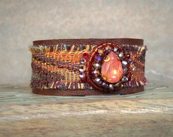 Leather Wrist Cuff, Big Crystal Bracelet, Beaded Leather Cuff Bracelet, Rustic Fabric and Leather Bracelet in Coral and Brown
