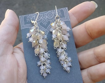 Long Beige Cluster Earrings. Cascade Crystal Evening Earrings. Beaded Cluster Drop Earrings. Statement Jewelry. Ready to Ship. Neutral Color