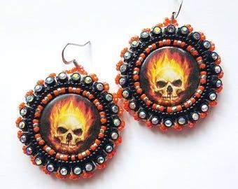 Flaming Skull Beaded Earrings