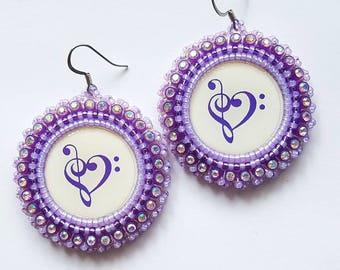 Purple Heart Clef  Beaded Earrings