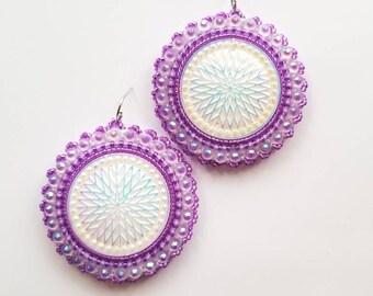 Purple Star Quilt Beaded Earrings