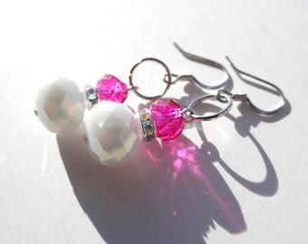White & Pink Earrings