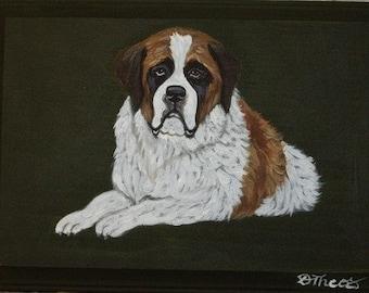 dd7314923499 Saint Bernard Dog Custom hand Painted Key Leash Rack Plaque Home decor Wall  decor