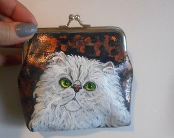 b492f868ad White Persian Cat Hand Painted Leather Coin Purse Vegan Mini Wallet Change  Purse