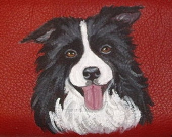 Border Collie Dog Custom Painted Women's Leather Wallet