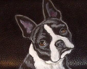 Boston Terrier Dog Custom Painted Leather Men's Wallet Gifts for Men