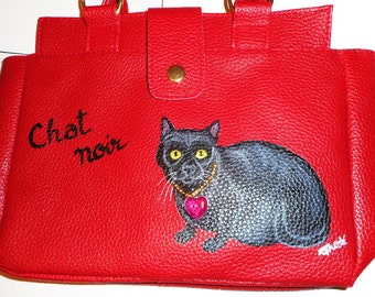 Black Cat Chat Noir Hand Painted Faux Leather Handbag Tote Vegan