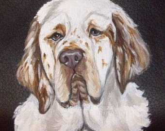 Clumber Spaniel Dog Custom Painted Leather Men's Wallet