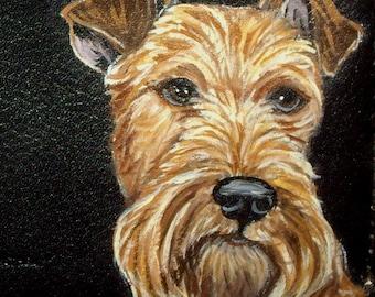 Irish Terrier Dog Custom Hand Painted Leather Men's wallet Bifold Tri fold