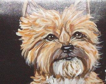 Cairn Terrier Dog Custom Painted Leather Men's Wallet