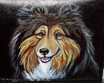 Shetland Sheepdog Sheltie Dog Custom Painted Leather Men's Wallet