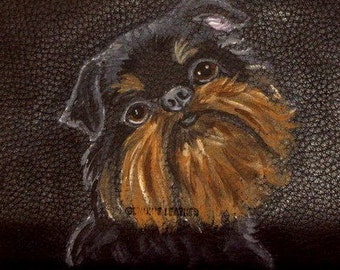 Brussels Griffon Dog Custom Painted Leather Men's wallet Gift for Men