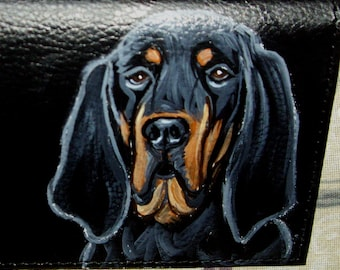 Black and Tan Coonhound Dog Custom Painted Leather Men's wallet Gifts for Men