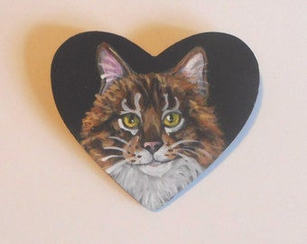Maine Coon Cat Custom Painted Pin Brooch Jewelry