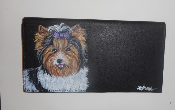 Yorkshire Terrier Puppy Design Checkbook Cover  Holder Yorkie