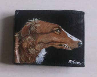 Borzoi Russian Wolfhound  Dog Custom Painted Leather Men's Wallet
