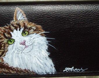 Norwegian Forest Cat Portrait Checkbook Cover Holder Custom hand Painted Leather