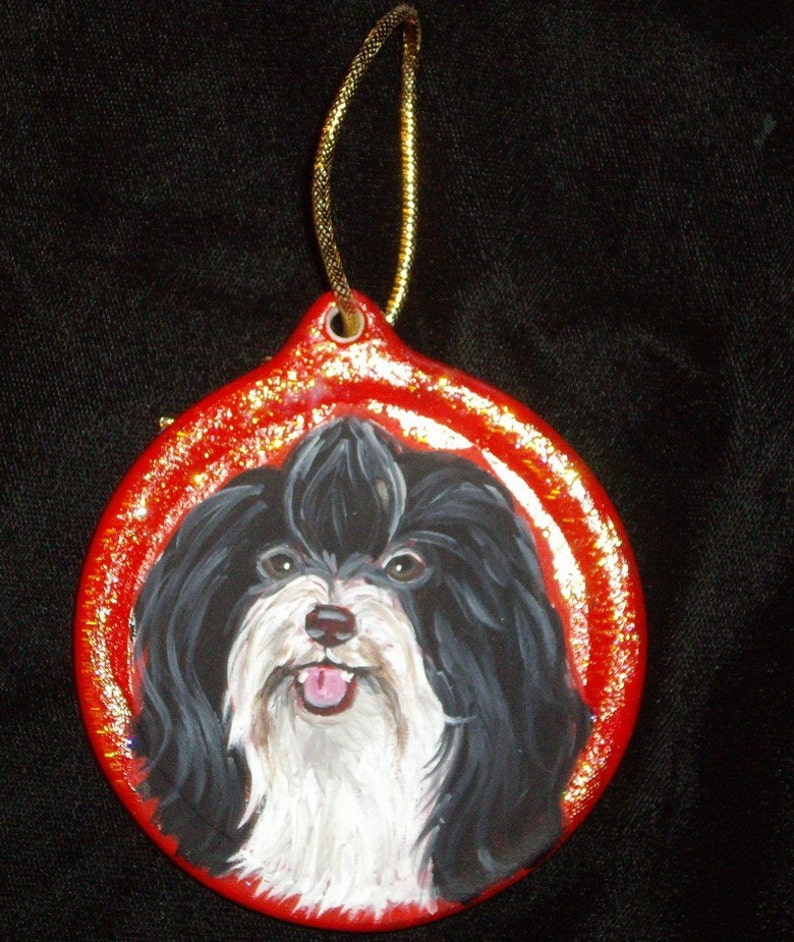 Shih Tzu Hand Printed Ceramic Christmas Holiday Dog Ornament