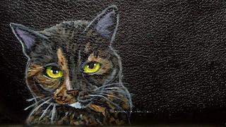 Tortoiseshell Cat Gift Checkbook Cover Checkbook Holder Custom hand Painted Black Leather