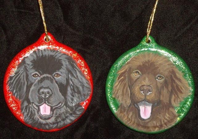image 0 - Newfoundland Dog Custom Painted Christmas Ornament Decoration Etsy