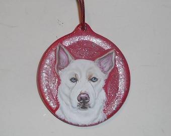 White Siberian Blue Eyes Husky Dog Custom hand Painted Christmas Ornament Decoration