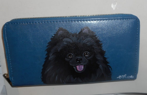 Black Pomeranian Dog Hand Painted Leather Blue Wallet For Etsy